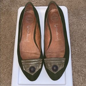 Army green suede Flats